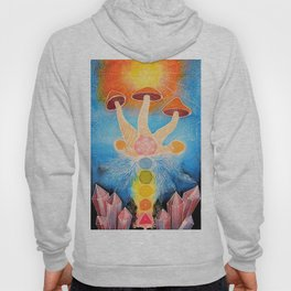 Mushroom Chakra Crystal Tapestry Rainbow Psychedelic Sacred Geometry Painting Art (Teonanacatl) Hoody