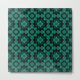 Turquoise and black pattern . Metal Print