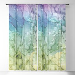Purple Blue Green Yellow Abstract 2621 Alcohol Ink Painting by Herzart Sheer Curtain