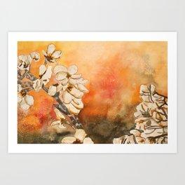 Oriental Modern Art Flowers Art Print