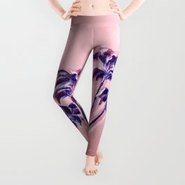 Maroon Leaves_Pastel and watercolor painting on colored paper Leggings