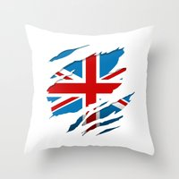 british flag Throw Pillows featuring British Flag Pride by northside