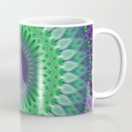 Mandala with light green and violet ornaments Coffee Mug