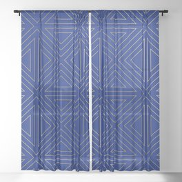 Angled Blue & Gold Sheer Curtain