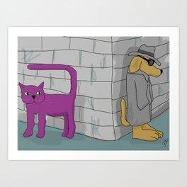 Purple Cat is sure he is being followed Art Print