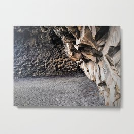 Cave at Reynishverfi Black Sand Beach on the Southern Coast of Iceland (1) Metal Print