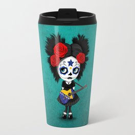Day of the Dead Girl Playing Bosnian Flag Guitar Travel Mug