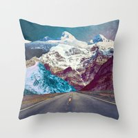 jenna kutcher Throw Pillows featuring The Last Stretch by Jenna Davis Designs
