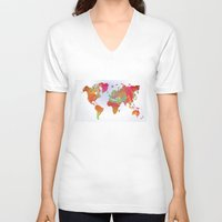 map of the world V-neck T-shirts featuring World Map by Roger Wedegis