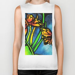 Beautiful Monarch Butterflies Fluttering Over Palm Fronds by annmariescreations Biker Tank