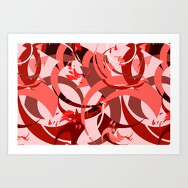 Abstract Curls - Burgundy, Coral, Pink Art Print