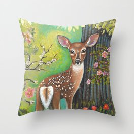 Flora and Fawn by Robynne Throw Pillow