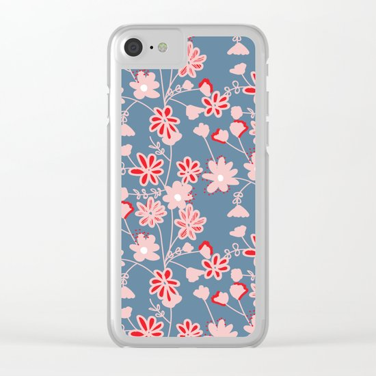 Red-Pink Flower Pattern Clear iPhone Case