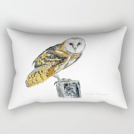 Strike a Pose - painting of a young Barn Owl by Teresa Thompson Rectangular Pillow