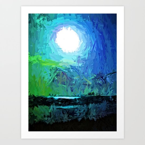 White Moon on the Dark Sea Art Print