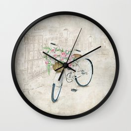 Vintage bicycles with roses basket Wall Clock