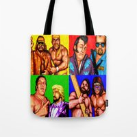 wrestling Tote Bags featuring Wrestling Superstars by VGPrints