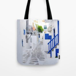 Beautiful Whitewashed Street Mykonos Greece Tote Bag