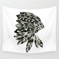 headdress Wall Tapestries featuring Geometric Headdress by GeometricInk