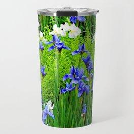 BLUE & WHITE  IRIS FLOWER GARDEN Travel Mug