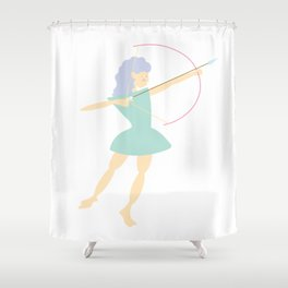 Forest Girl with bow and arrow, green Shower Curtain