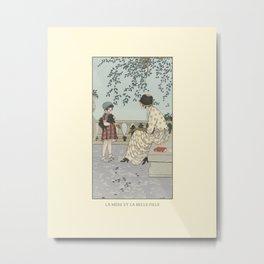 La mère et la belle fille | Love of the mother | Nature, outdoors, reading in the Parc | Art Deco Fashion illustration Metal Print