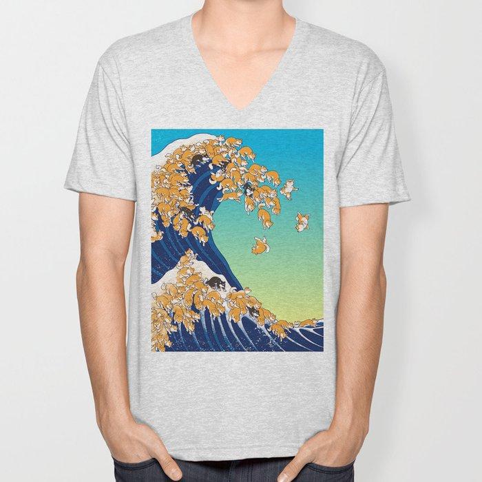 Shiba Inu in Great Wave Unisex V-Neck