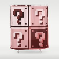mario bros Shower Curtains featuring Sepia ? Question mark Super Mario Bros. blocks by Rebekhaart