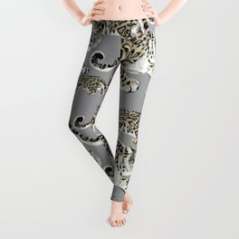 Snow leopard in grey Leggings