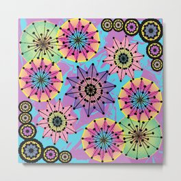 Vibrant Abstract Floral Pattern Metal Print