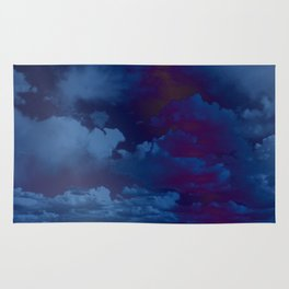 Clouds in a Stormy Blue Midnight Sky Rug