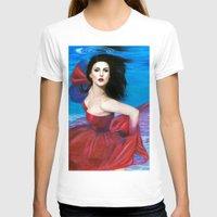 aqua T-shirts featuring Aqua by Jane Stradwick