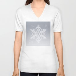 Typographic Snowflake Greetings - Silver Grey Unisex V-Neck