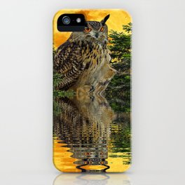 NIGHT OWL  FULL MOON WATER REFLECTION iPhone Case