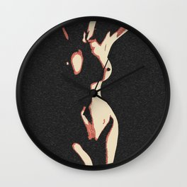 Body in the Shadows, sexy abstract artwork, perfect nude girl, naked woman erotic art Wall Clock