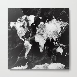 world map marble 4 Metal Print