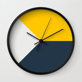 Blue Yellow White Abstract Geometric Art Wall Clock
