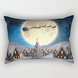 Christmas village night - Amazing cute christmas santa's sleigh goes through fantastic winter small town. Rectangular Pillow