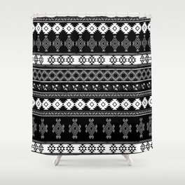 White & Black Primitive Pattern Shower Curtain