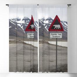 Polar bears traffic sign in Svalbard Blackout Curtain