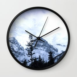 Mystic Three Sisters Mountains - Canadian Rockies Wall Clock