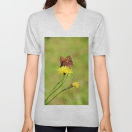 Arran Brown butterfly and yellow flower Unisex V-Neck