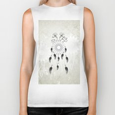 Dreamcatcher in black and white Biker Tank