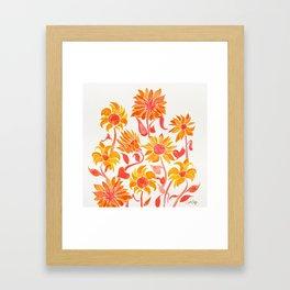 Sunflower Watercolor – Fiery Palette Framed Art Print