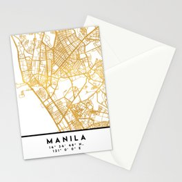 MANILA PHILIPPINES CITY STREET MAP ART Stationery Cards