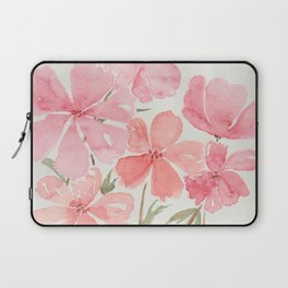 Pink & Coral Cherry Blossoms Watercolor Flowers  Laptop Sleeve