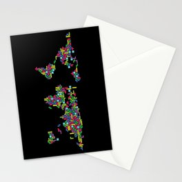Tetris world (black one) Stationery Cards