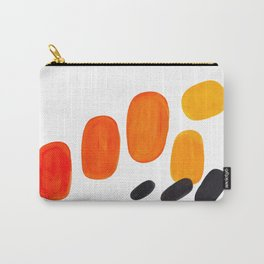 Mid Century Modern Colorful Minimal Pop Art Yellow Orange Ombre Rainbow Gradient Pebble Ovals Carry-All Pouch