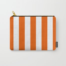 Persimmon orange - solid color - white vertical lines pattern Carry-All Pouch