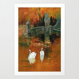 Swans in a Park in Autumn, landscape painting by Hans Rudolf Schulze Art Print